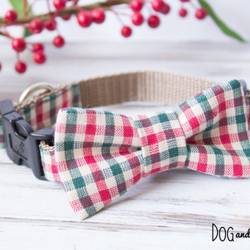 Christmas Gingham Dog Collar with Optional Leash and Removeable Bow Tie