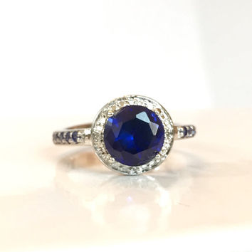 Blue Sapphire Ring Sterling Silver Round Halo Pave Set Genuine Diamond Gemstone Band Antique Vintage Summer Estate Anniversary Jewelry SZ 7