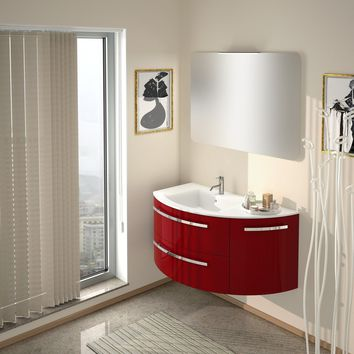 Ambra 38 in. Wall Mounted Bathroom Vanity Right Round Cabinet Set Bath Furniture