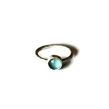 Blue Chalcedony faceted gemstone ring, sterling silver Stacking Ring, hammered textured stackable ring, gemstone ring