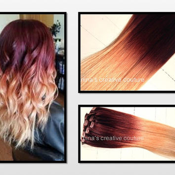 """Ombre Hair Extensions, Georgian Sunset Ombre Hair, Violet and Red with a slow fade to Peach and Blonde,(7) Pieces, 20"""""""