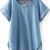 Blue Folded Short Sleeve Drop Down Denim Blouse