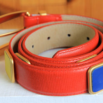 Vintage 1980s Red Colorful Leather Belt, by Doncaster, USA, Size XL