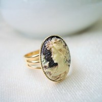 Anastasia Lady Bird Cameo Ring in Gold Setting Adjustable 19x14mm