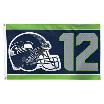 SEATTLE SEAHAWKS 12TH MAN 3'X5' DELUXE FLAG BRAND NEW WINCRAFT