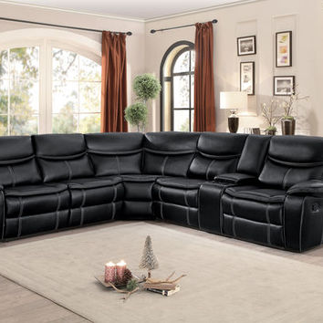 3 pc Bastrop collection black leather gel match upholstered sectional sofa with recliners and console table