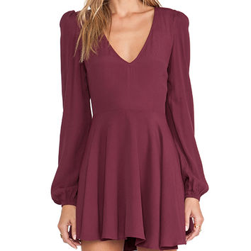 Lovers + Friends Shimmy Dress in Burgundy