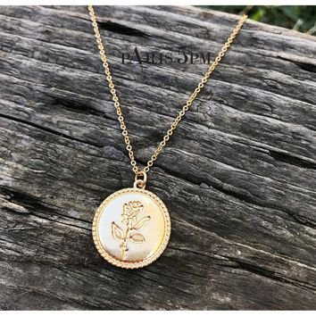 Gold Plated Rose Coin Pendant Necklace