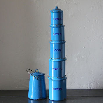 Antique French Enamel Kitchen Canister Set in Blue with the Original Matching Milk Pot.