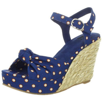 BC Footwear Womens Light Of Day Polka Dot Wedge Sandals