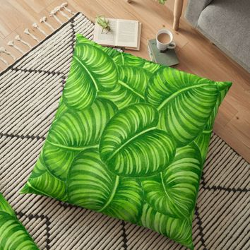 'Calathea leaves' Floor Pillow by Katerina Kirilova