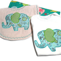 Baby Girl Bodysuit Gift Set - Appliqued Elephant Bodysuit - Newborn Gift Set -Contoured Burp Cloth