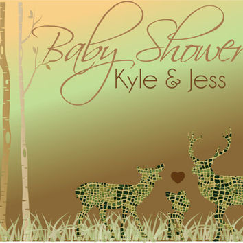 Camo Deer Baby Shower Invitation / Diy Baby shower Invitation / Hunting Baby Shower Invitation