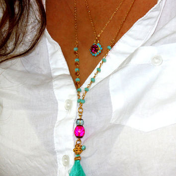 Tassel Necklace, Y Necklace, Boho Jewelry Tassel Necklace, Hot Pink & Turquoise necklace, Layering Necklace, Turquoise Rosary  Necklace.