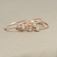 opal ring. gold opal ring. ONE delicate stackable birthstone ring. mothers ring. 14k gold filled. engagement ring.