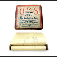 1940 Player Piano Roll, Antique QRS Piano Roll, Woodpecker Song, Fox Trot, Paper Roll, Original Box, No. 7187 Word Roll, Gift For Collector