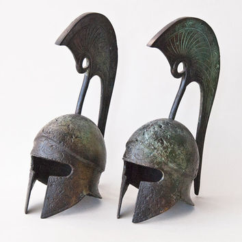 Ancient Greek Helmet, Bronze Crest Helmet, Ancient Athenian Military Helmet, Bronze Metal Sculpture, Collectible Art, Museum Quality Art