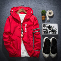 1Pc New Fashion Korean Slim Fit Young Men Hooded Jacket Thin Jackets Casual Tide 4 Colors M-5XL