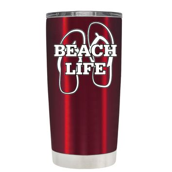 The Beach Life Sandals on Translucent Red 20 oz Tumbler Cup