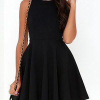 Black Cut Away Plain Skater Dress