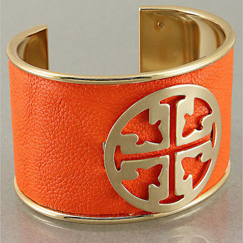 Tory Burch Inspired Leather Cuff White or Orange with Gold Color Buckle