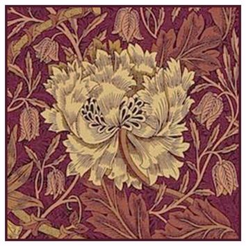Burgundy Marigold detail by William Morris Design Counted Cross Stitch or Counted Needlepoint Pattern