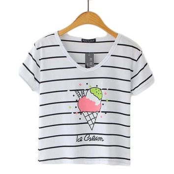 Striped Crop Top Printed Loose Short Sleeve Tees