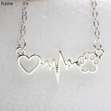DKLW8 hzew cute Animal vintage jewelry necklaces love Cats and Dogs Paws and heart Heartbeat necklace Paw necklaces & pendants