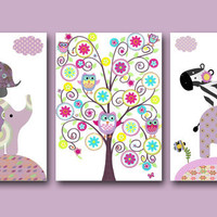 "Art for Children , Kids Wall Art, Baby Room Decor, Nursery print,set of 3 8"" x 10"" Print,giraffe,elephant,tree,artwork,zebra,violet,rose"
