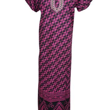 Pink/Black Printed Cotton Nightwear Caftan Short Sleeves Button Front Sleepwear Evening Maxi Kaftan Dress L