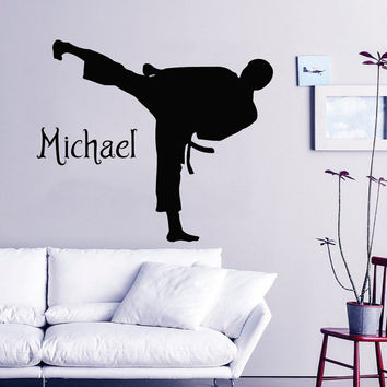 Karate Wall Decal Boy Personalized Name Stickers Martial Arts Vinyl Decals Sport Mural Home Bedroom Decor Interior Design Fighter Decor KY91