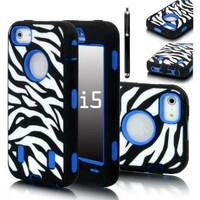 E LV Deluxe Zebra Print Hard Soft High Impact Armor Case Combo for Apple iPhone 5 5G 5th Generation with 1 Front and Back Screen Protector, 1 Black Stylus and E LV Microfiber Sticker Digital Cleaner (Blue, iPhone 5)