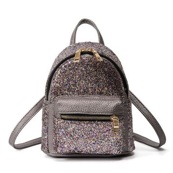 Women Glitter Backpack Small Pu Leather Shoulder Bag Teenage Girls Black Backpacks Fashion Shinny Rucksack Casual Day Pack 240