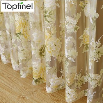 Top Finel HOT Modern Rose Floral Tulle for Window Curtain Sheer Curtains for Living Room the Bedroom Window Screening Panel