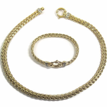 Chunky Vintage Italian 14K Nautical .56 Ctw Diamond Wide Wheat Necklace Bracelet Jewelry Set 61.9 Grams