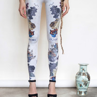 Romance is dead* *Not - light coloured leggings with floral prints