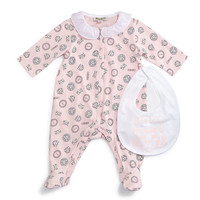 Printed Cotton Footie Pajamas & Bib, Light Pink, Size Newborn-9 Months, Size: