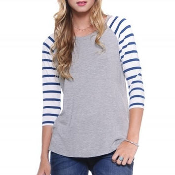 Gray and Teal Baseball Tee With Stripe Sleeve (S-L)