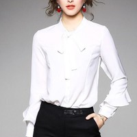 Blouse W/ Bow Tie and Ruffled Sleeve