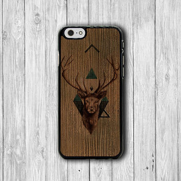Wooden Deer Head Hipster Geometric Triangle iPhone 6 Case, iPhone 6 Plus, iPhone 5S, iPhone 4S Hard Case, Rubber Plastic Accessories Gift