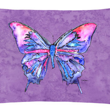 Butterfly on Purple   Canvas Fabric Decorative Pillow