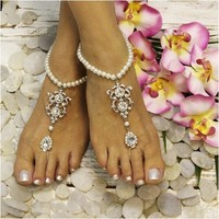 VIRGINIA pearl barefoot sandals - silver