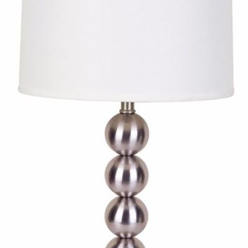 Captivating Table Lamp With Metal Base, Silver, Set of 2