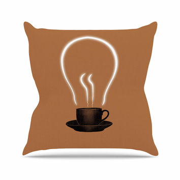 "Digital Carbine ""The Power Of Coffee"" Brown Food Outdoor Throw Pillow"