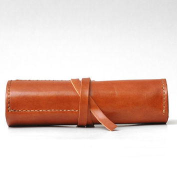 Personalized Leather Roll Pen Case Make Up Pencil Bag, Vegetable Tanned Leather, Handmade Hand Stitched, Brown