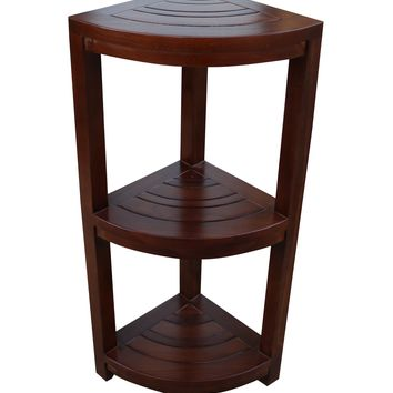 ALA TEAK Corner Teak Wood Bath Spa Shower Stool Corner Shelf Storage Fully Assembled