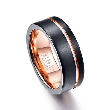 Classic Desgin 8mm Wide Black Color Thin Rose Gold Line Men Ring 100% Tungsten Carbide Ring Male Wedding Bands Jewelry