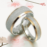 Handmade 18K Gold His&Her Matching Wedding Engagement Anniversary Titanium Rings Set Court Shape