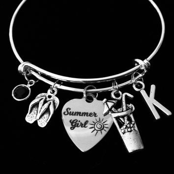Personalized Summer Girl Expandable Charm Bracelet Silver Adjustable Wire Bangle One Size Fits All Gift Nautical Jewelry Flip Flops