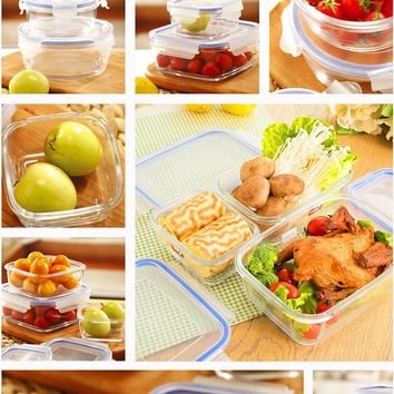 2 Pcs/Set Stanilite lunchboxes glass dinner set outdoor travel dinnerware bento lunch hot box microwave food  Container